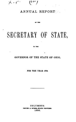 Annual Report of the Secretary of State to the Governor and General Assembly of the State of …