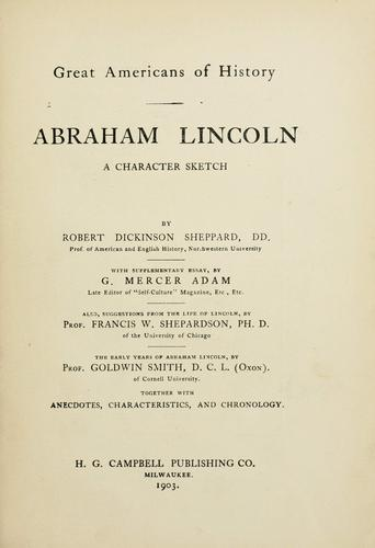 Download Abraham Lincoln, a character sketch.