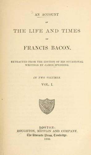 Download An account of the life and times of Francis Bacon.