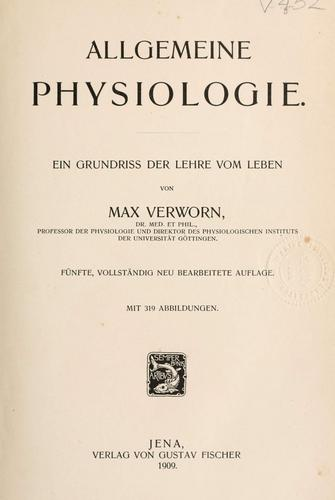 Download Allgemeine Physiologie