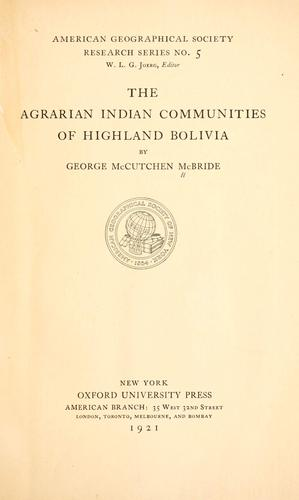 Download The agrarian Indian communities of highland Bolivia