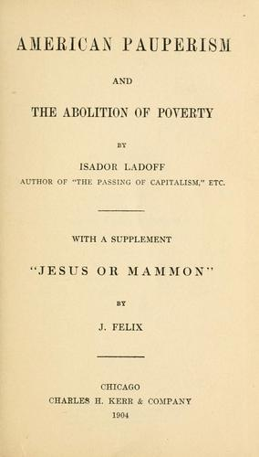 Download American pauperism and the abolition of poverty