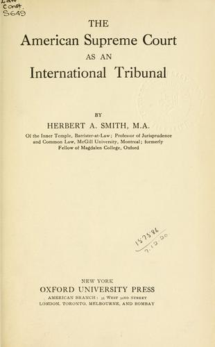 The American Supreme Court as an international tribunal.