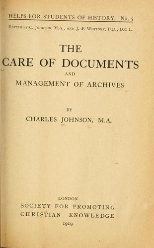 Download The care of documents and management of archives