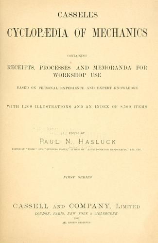 Cassell's cyclopaedia of mechanics