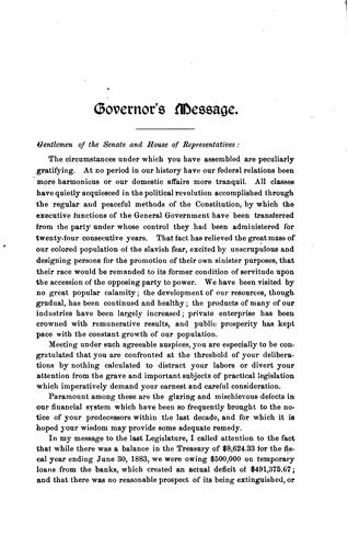 Message of …the Governor of Kentucky to the General Assembly …