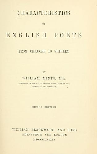 Characteristics of English poets, from Chaucer to Shirley.