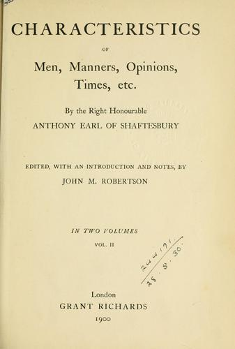 Download Characteristics of men, manners, opinions, times, etc.