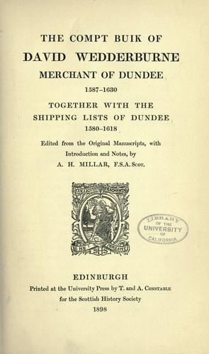 Download The compt buik of David Wedderburne, merchant of Dundee, 1587-1630.