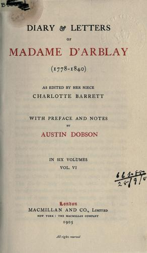 Download Diary & letters of Madame d'Arblay, 1778-1840