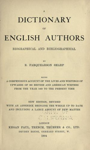 Download A dictionary of English authors, biographical and bibliographical