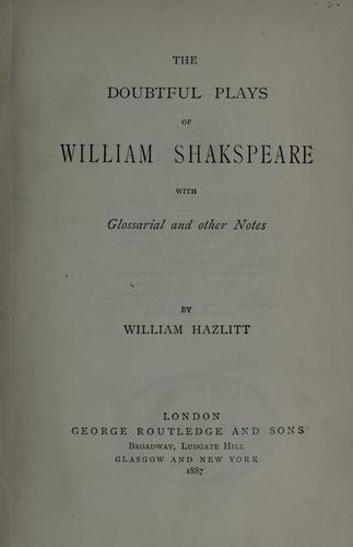 Download The doubtful plays of William Shakespeare
