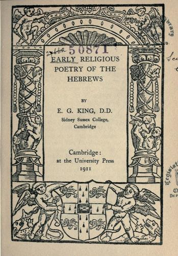 Download Early religious poetry of the Hebrews