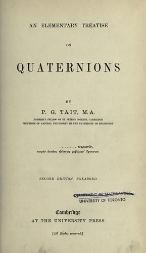 An elementary treatise on quaternions.