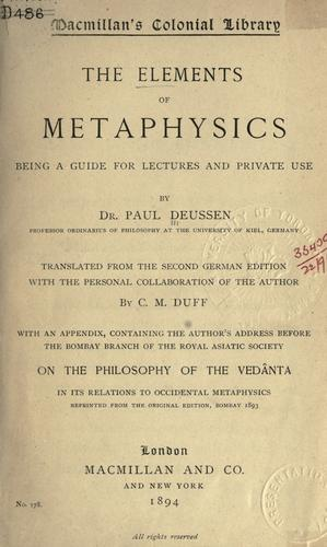 Download The elements of metaphysics