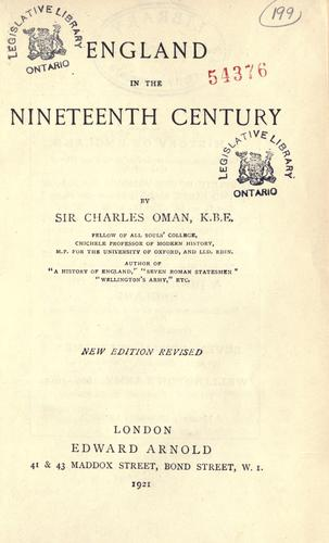 Download England in the nineteenth century.