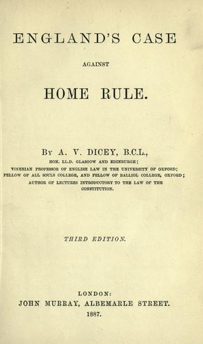 Download England's case against home rule