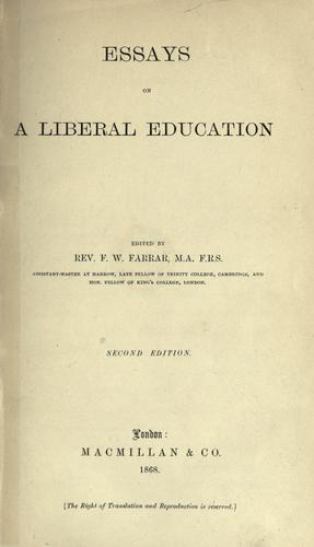 Essays on a liberal education. –.