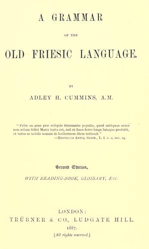 Download A grammar of the Old Friesic language