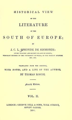 Download Historical view of the literature of the south of Europe