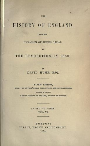 Download The history of England, from the invasion of Julius Cæser to the revolution in 1688.