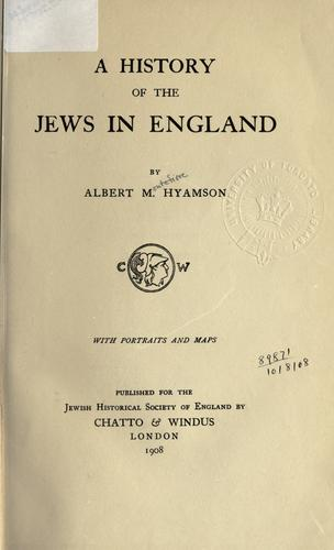 Download A history of the Jews in England.