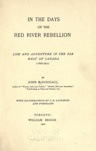 Download In the days of the Red River rebellion.