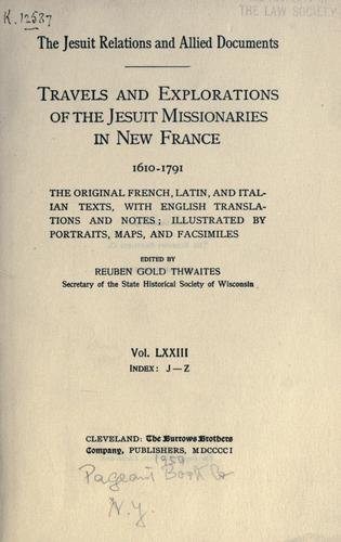 Download The Jesuit relations and allied documents