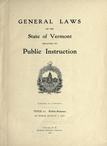 Download General laws of the state of Vermont relating to public instruction