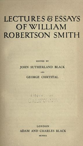 Download Lectures & essays of William Robertson Smith