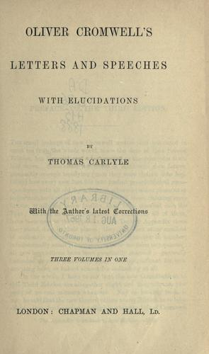 Download Letters and speeches, with elucidations by Thomas Carlyle.