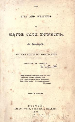 The life & writings of Major Jack Downing of Downingville …