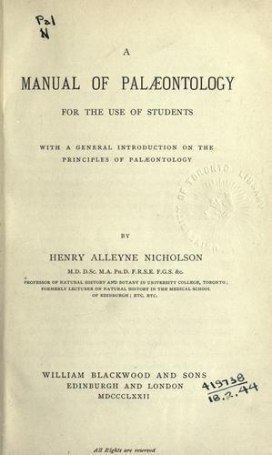 Download A manual of palæontology for the use of students