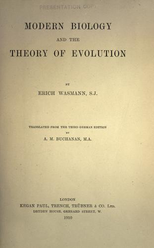 Download Modern biology and the theory of evolution