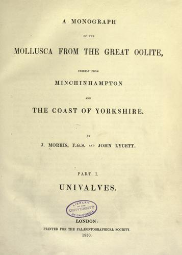 Download A monograph of the Mollusca from the Great Oolite chiefly from Minchinhampton and the coast of Yorkshire.
