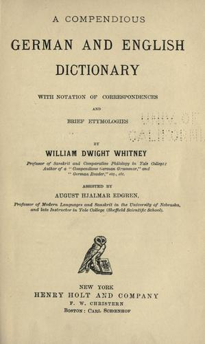 Download A compendious German and English dictionary