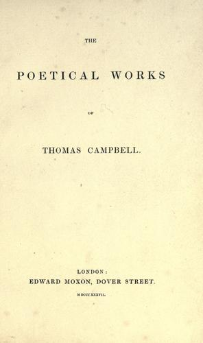 The poetical works of Thomas Campbell.