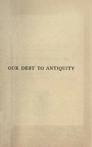 Our debt to antiquity