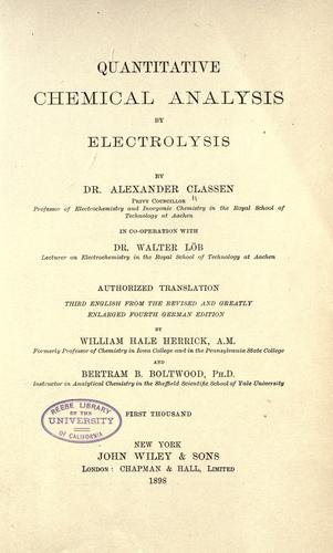 Download Quantitative chemical analysis by electrolysis