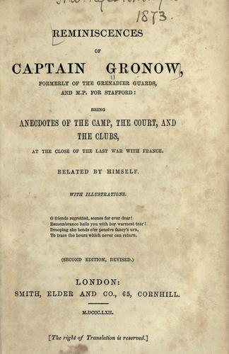 Reminiscences of Captain Gronow