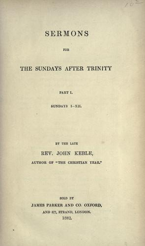 Sermons for the Sundays after Trinity.