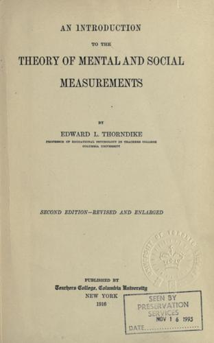 Download An introduction to the theory of mental and social measurements.