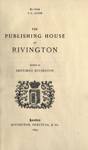Download The publishing house of Rivington.