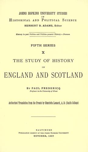 Download The study of history in England and Scotland