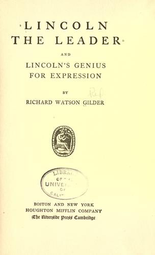 Download Lincoln the leader, and Lincoln's genius for expression