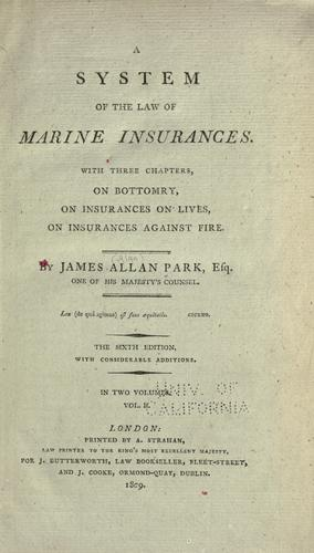 A system of the law of marine insurances.