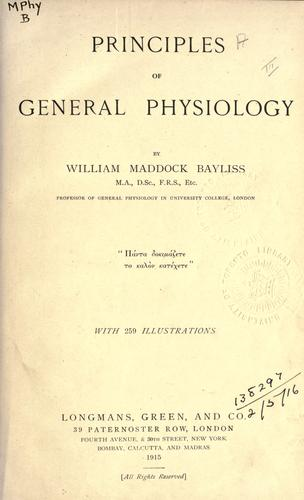 Download Principles of general physiology.