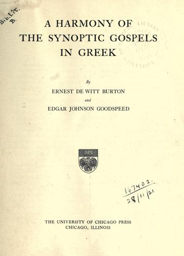 A harmony of the Synoptic Gospels in Greek.