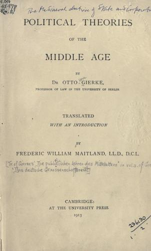 Download Political theories of the Middle Age