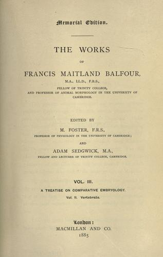 Download The works of Francis Maitland Balfour